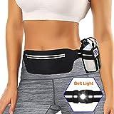SUPOLOGY Running Belt Waist Pack with Water Bottle and LED Light for Hiking Travel Running, Running Bag for Men Women