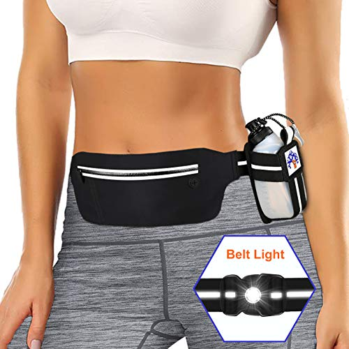 SUPOLOGY Running Belt Waist Pack with Water Bottle and LED Light for Hiking Travel Running, Running Bag for Men Women