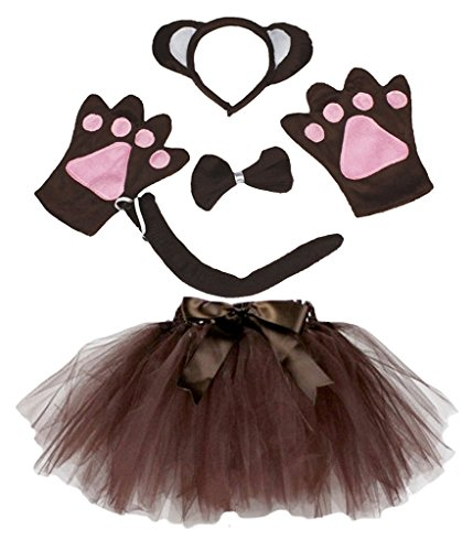 Petitebella Animal Headband Bowtie Tail Gloves Tutu 5pc Girl Costume (Brown Monkey) -