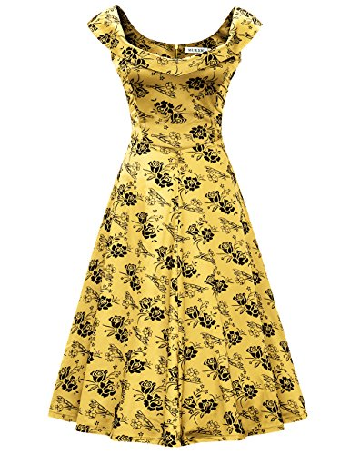 [MUXXN Womens 1950s Scoop Neck Off Shoulder Cocktail Dress(2XL,Yellow)] (1950 Dress)
