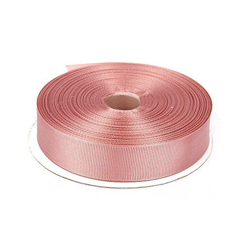Topenca Supplies 1 Inches x 50 Yards Double Face Solid Grosgrain Ribbon Roll, Vintage Pink - Vintage Grosgrain Ribbon