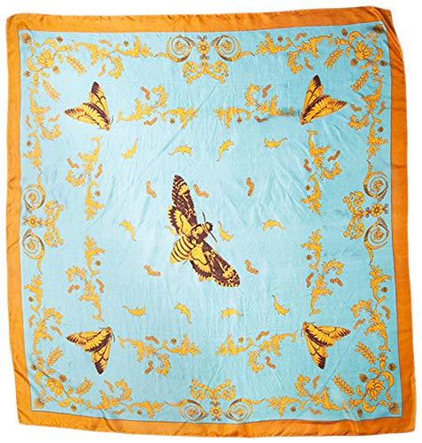 Chan Luu 100% Silk Vintage Print Moth Neckerchief Scarf (Mineral Blue)