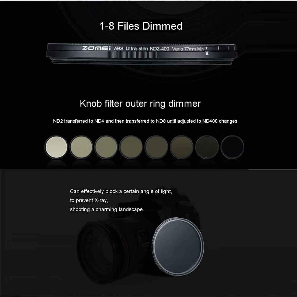 unbrand ZOMEI ABS Slim Adjustable Filtro Neutral Density ND2-400 Filter for DSLR Camera Lens No X Pattern in The Middle of The Picture