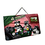 Home of Miniature Schnauzers 4 Dogs Playing Poker Photo Slate Hanging