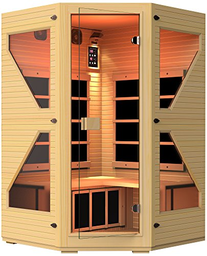 JNH Lifestyles NE4CHB1 ENSI Collection 2 to 3 Person Corner NO EMF Infrared Sauna Limited Lifetime Warranty