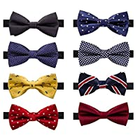 AUSKY 8 PACKS Elegant Adjustable Pre-tied bow ties for Men Boys in Different Colors