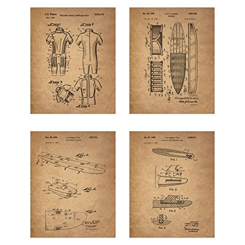 Surfing Patent Prints - Set of 4 (8 inches x 10 inches) Photos Wall Decor - Surfboard Body Suit