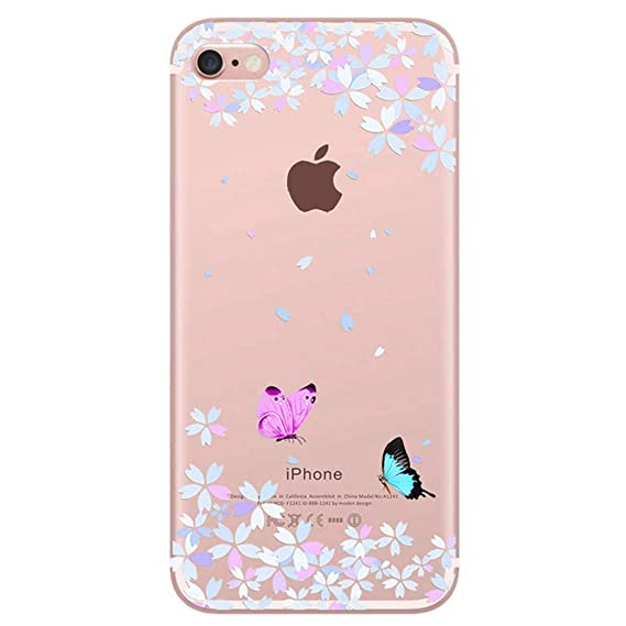 63dd5eee830a3e for iPhone 6 iPhone 6S Plus Case Sakura ButterflyLLZ.Coque Clear Soft TPU  Gel Silicone