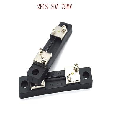 DC shunt Ampere Parallel Resistor Amp Panel Meter Ammeter Shunt Current Tester Digital Ampere Panel Meter Current Shunt Resistor 20A75MV: Home Improvement