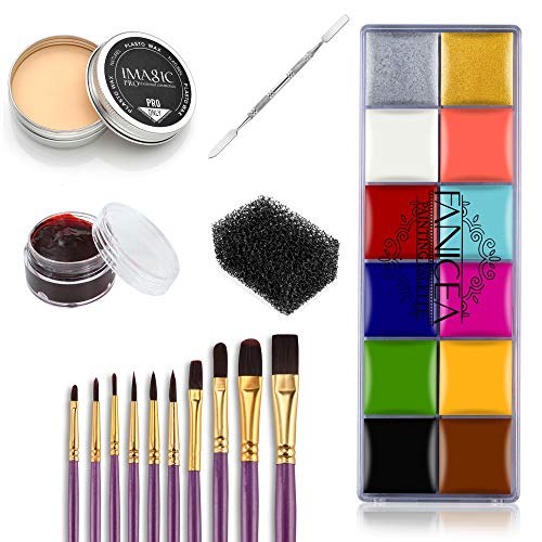 FANICEA Professional Special Effects SFX Makeup Kit with Wound Modeling Scar Wax, 12 Colors Face Body Paint Oil, 10…