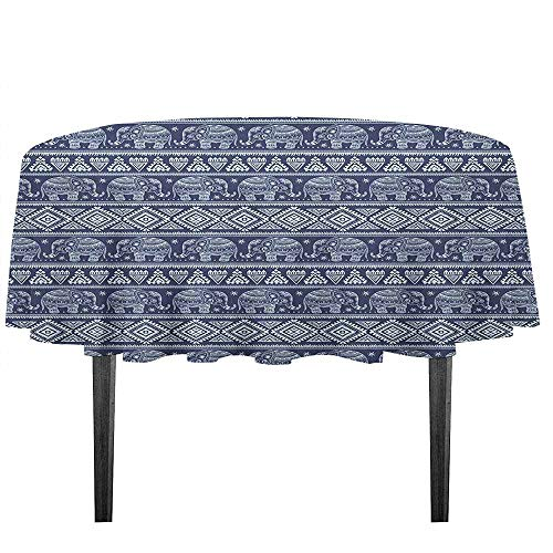 kangkaishi Ethnic Waterproof Anti-Wrinkle no Pollution Tribal South Asian Rhombus and Elephant Motifs Blooming Flowers Pattern Outdoor Picnic D59.05 Inch Navy Blue and Pale Blue