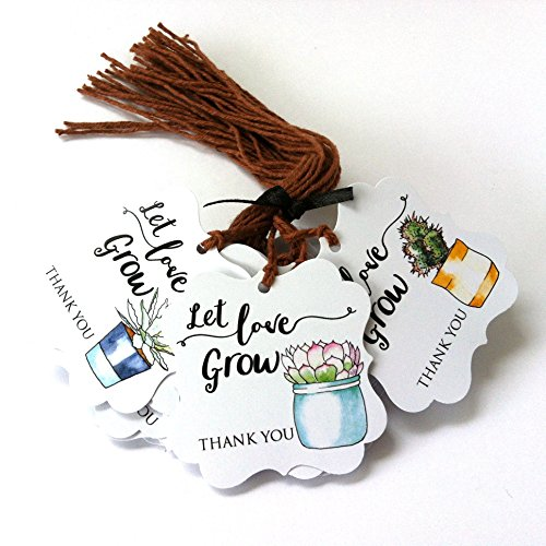 Let Love Grow Succulent Thank You Favor Hang Tags for Wedding Baby Shower Party - Set of 24 -