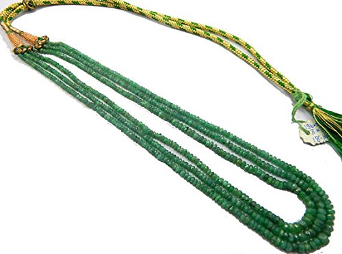 Emerald Necklace 18 inch Long,Beads Size 3-7 mm Rondelle Faceted Green Beads 3 Strands Necklace