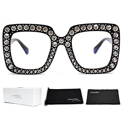 SamuRita Elton Square Diamond Rhinestone Sunglasses Novelty Oversized Celebrity Shades(Black Frame/Clear Lens)