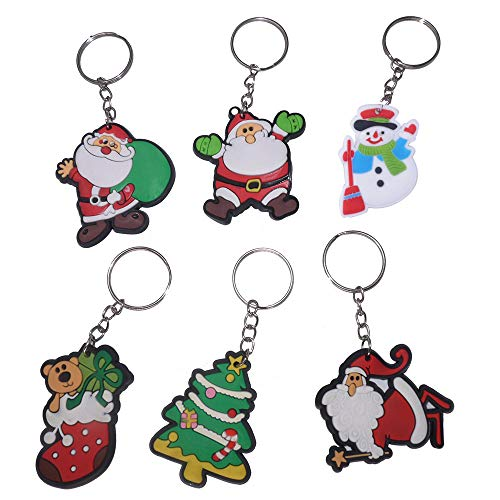 Adam Victor Fun Santa Claus Snowman Christmas Stocking Keychain/Hanging Buckle(6 Pcs)