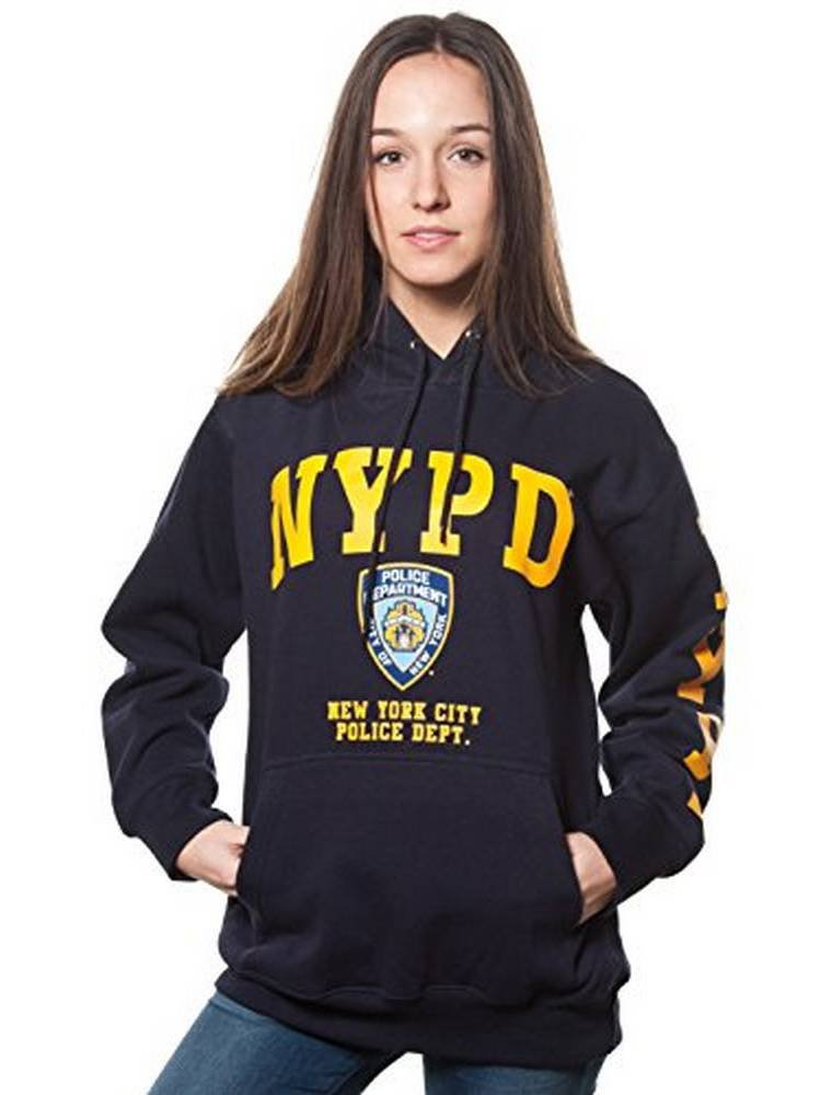 Adult Nypd Navy Pullover Hoodie with Yellow Chest and Sleeve Print (Large)