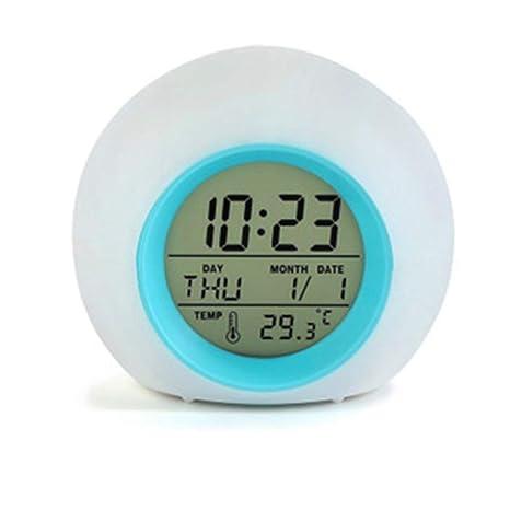 Ogquaton Despertador para Dormitorio de niños, Despertador Reloj Digital de luz con Temperatura Interior y