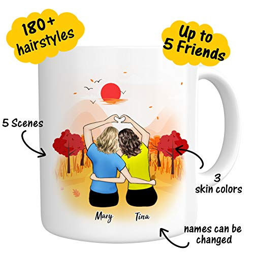 Custom Best Friend Gifts, Funny Personalized Photo Coffee Mugs for Women - Long Distance Friendship - Customizable Name Words Cup for Besties Bff Friends Birthday Moving Away, Christmas Gifts