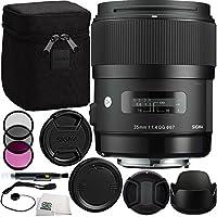 Sigma 35mm f/1.4 DG HSM Art Lens (for Nikon DSLR Camera) Bundle Includes Manufacturer Accessories + 3 PC Filter Kit + Lens Cap + Lens Pen + Cap Keeper + Microfiber Cleaning Cloth