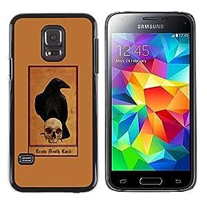 rígido protector delgado Shell Prima Delgada Casa Carcasa Funda Case Bandera Cover Armor para Samsung Galaxy S5 Mini, SM-G800, NOT S5 REGULAR! /Grim Reaper Brown Skull Raven Crow/ STRONG