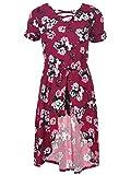 One Step Up Girls' Little Romper Maxi Dress, Burgundy/Multi, 4