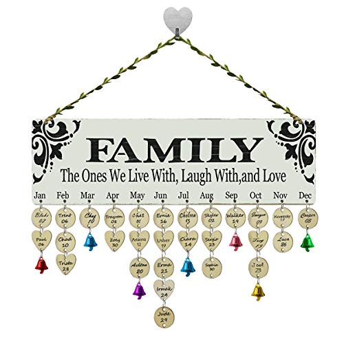 FamGift Grandma Moms Gifts - Family Birthday Reminder Calendar Board Wall Hanging, Important Anniversary Tracker Calendar Plaque with Tags for Home Classroom Wall Decor - Personalized Birthday Presen]()
