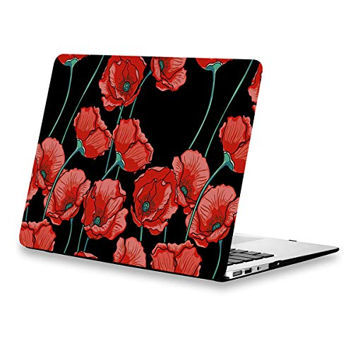 MacBook Air 13.3 Inch Case Floral, Poppy Flower Design Rubberized Soft-Touch Protective Hard Shell Case for MacBook Air 13.3 inches(Model:A1369/A1466) Year 2010-2017 with Keyboard Cover