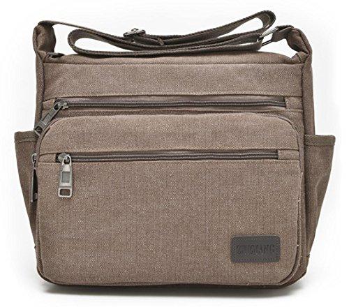 Vintage Style Men's Boys Casual Canvas Shoulder Bag Cross-body Messenger Bag Satchel Schoolbag (Coffee) - 5