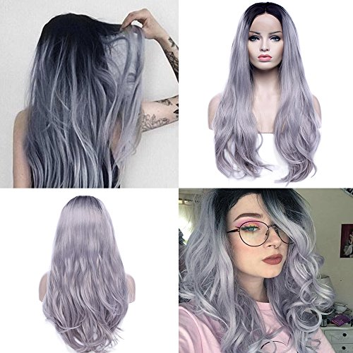 Two Tones Medium Grey Lace Front Wigs Ombre Dark Root Wavy Hair Glueless Anime Wigs 26 Inch Heat Resistant Fiber with Wig (Grey Character Wig)