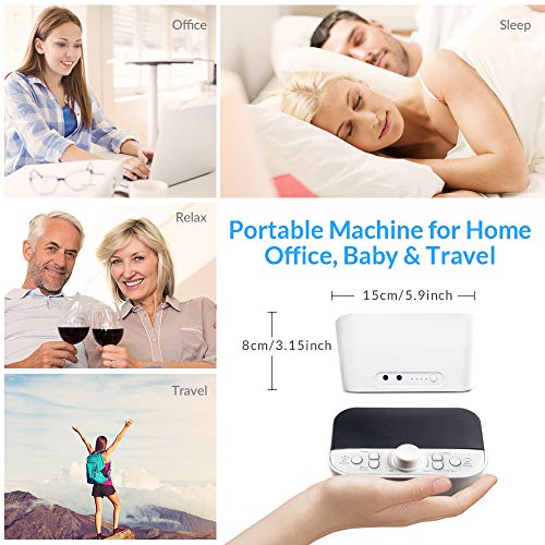 White Noise Machine, LATOW Womb Sound Machine for Baby Sleeping, Portable Sleep Therapy 28 Non-Looping Sounds for Kids Adults Home Office Travel, 2 Speakers,HeadsetJack, DC Output and Timer Sound Spa by LATOW (Image #6)