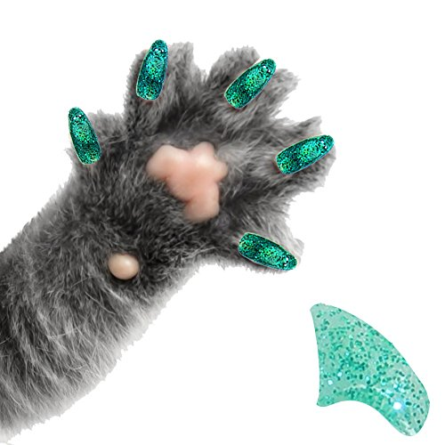 Purrdy Paws 40-Pack Soft Nail Caps For Cat Claws SEAFOAM GLITTER LARGE