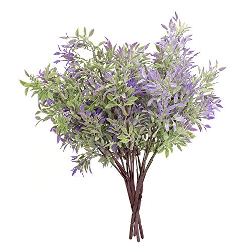 ATOFUL Artificial Fake Flowers-Plastic Faux Plants Leaves Arrangements for Indoor/Outdoor Decorations, Wedding, Party, Home, Videos or MV (Purple) (To Flowers Place Buy Best Faux)