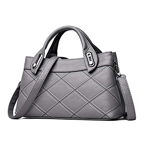 Women's À main Gris à sac Capacité Tote PU Fourre Gray QZTG Tout Main Embossed Sacs Bags De Grande Red Purple Hw7txEq