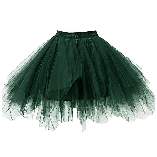 Kileyi Womens Tutu Costume Adult Party Dance Tulle Skirt Short Fluffy Petticoat Dark Green L