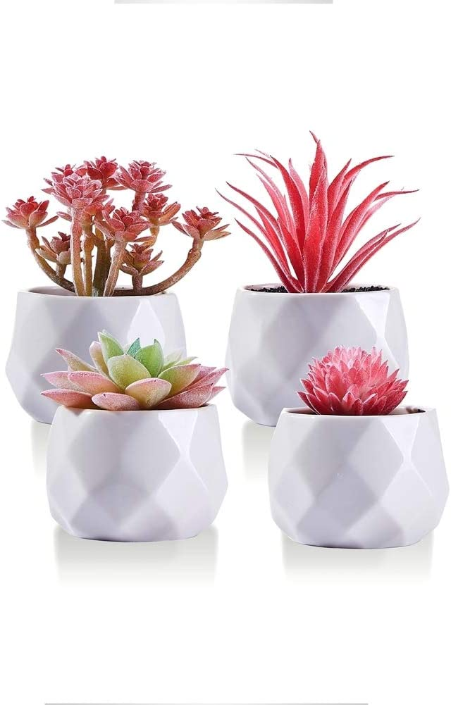 CADNLY Fake Succulent Plant Set - Artificial Succulent Plants for Women Desk - Realistic Faux Succulents in Ceramic Planter Pots – Mini Pink Succulent Decor for Bedroom Bathroom Bookshelf Office