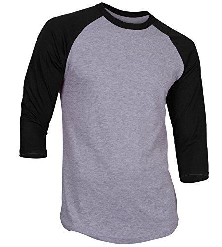 Men's Plain Athletic 3/4 Sleeve Baseball Sports T-Shirt Raglan Shirt S-XL Team Jersey Gray Black M ()