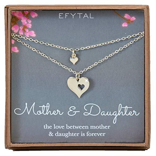 EFYTAL Mother Daughter Set for Two, Cutout Heart Necklaces, 2 Sterling Silver -