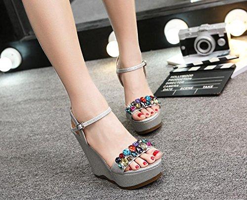 BaiLing Damen Sommer Sandalen/Wedge Sandalen/Wedge Sommer Ferse Wasserdicht/Strass Dicke Boden/Kleine Größe Schuhe, Silver, CN33 - 7e8485