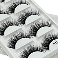 Mink Eyelashes-3D Mink Lashes Pack Luxurious Natural Dramatic Messy Volume Fluffy Long Wispies Thick Fake Eyelashes Sets 5 Pairs/Box (A11)