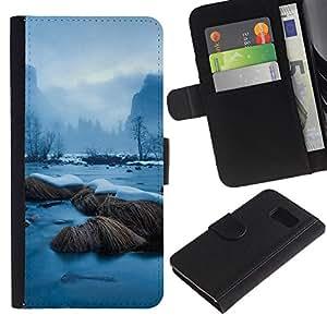 KLONGSHOP // Tirón de la caja Cartera de cuero con ranuras para tarjetas - Snowy River - Samsung Galaxy S6 //