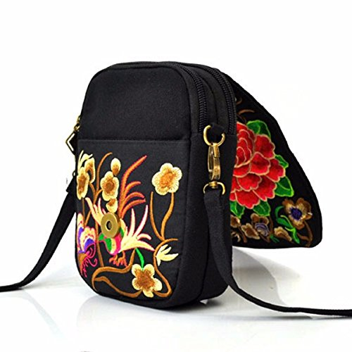 1 Canvas Floral Phone Red TENGGO 5 Crossbody Bag National Woman 5 Casual Bag Inches qxpqfw6