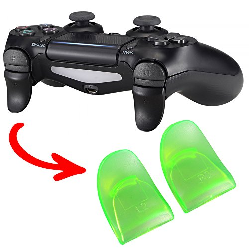 eXtremeRate 2 Pairs Black & Green L2 R2 Buttons Trigger Extenders Game Improvement for Playstation 4 Pro PS4 Slim Controller JDM-001 JDM-011 JDM-040 JDM-050 JDM-055