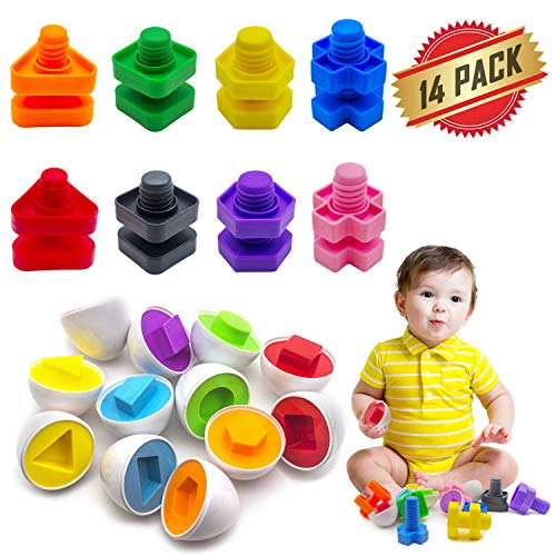 ELifeBox 14 Pack Jumbo Nuts Bolts and Matching Eggs Fine Motor Skills Toys Set for Toddlers, Matching Color and Shape Game Toy Improve Motor - Hedgehog Game