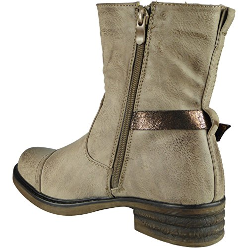 New Womens Low Heel Army Ankle Zip Buckle Winter Combat Boots Size 3-8 Khaki MzlRA28