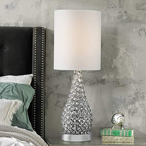 (Kasey Modern Accent Table Lamp Crystal Bead Silver Gourd White Drum Shade for Living Room Family Bedroom Bedside Nightstand - Possini Euro Design)