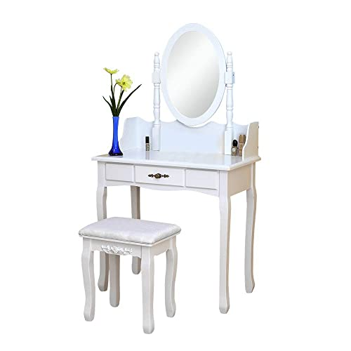MTFY White Vanity Table Sets, Makeup Dresser Vanity Set with Cushioned Stool Rotatable Mirror Wood Dressing Table with 1 Drawer for Girls Women Bedroom Furniture