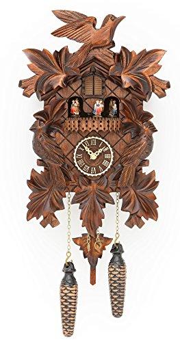 Quartz Cuckoo Clock with music 7 leaves, 3 birds, incl. batteries TU 377 QMT by Trenkle Uhren