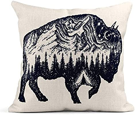 Kinhevao Cojín Bison Tattoo Buffalo Bull Símbolo de Viaje ...