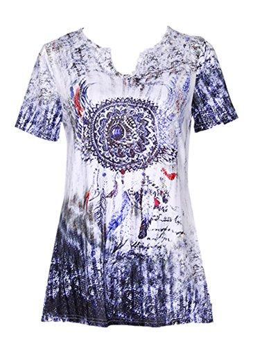 iOPQO 2018 Lady Plus Size Bell Print V Neck Short Blouse Pullover Shirt(S-L5) – DiZiSports Store