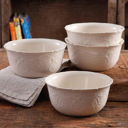 The Pioneer Sophisticated, Stylish, Durable Stoneware, Dishwasher Safe, Microwave Safe, Woman Cowgirl Lace Transparent Glaze 4-Pack Kitchen Dining and Entertaining, Dinnerware Bowls in Linen ()